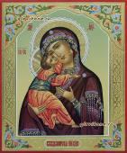 Владимирская Богородица писаная икона с резьбой на полях и узорами артикул 239