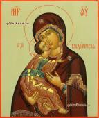 Писаная икона Владимирской на оливковом фоне артикул 286