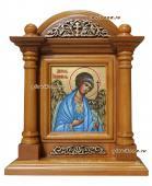 Писаная икона Ангела Хранителя в деревянном киоте-подставке артикул 702