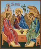 Писаная икона Троицы с голубым фоном артикул 903