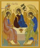 Писаная икона Троица, копия иконы Андрея Рублева, артикул 907