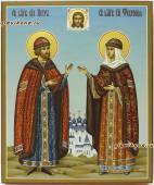 Святые Петр и Феврония голубой фон артикул 801