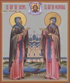 Писанная темперой икона благоверных Петра и Февронии артикул 804