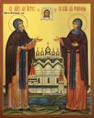 Святые Петр и Феврония в монашеских одеждах икона рукописная артикул 807