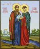 Святые Петр и Феврония с голубями писаная икона артикул 022