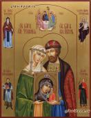 Писаная икона Петра и Февронии (поясные) с предстоящими, артикул 822