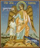 Ангел Хранитель, помогающий дитю, писаная икона
