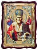 Святой НИколай Чудотворец с предстоящими храмовая икона 60х80 см