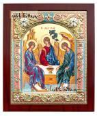 Святая Троица икона шелкография в серебряном окладе