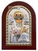 Святой Николай Чудотворец икона в серебряном окладе производство Греции