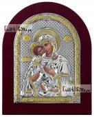 Серебряная икона Владимирской Божией Матери производство Италия