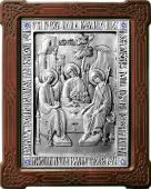 Пресвятая Троица серебряная икона со стразами артикул 11169