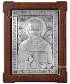 Серебряная икона святого Николая Чудотворца артикул 11147