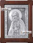 Святой Серафим Саровский икона из серебра артикул 11149