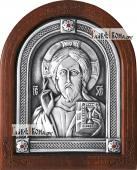 Серебряная икона Спасителя оплечное изображение артикул 11154