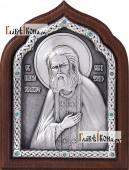 Преподобный Серафим Саровский серебряная икона артикул 11166