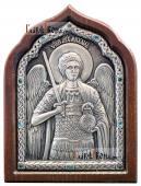 Архангел Михаил икона серебряная со стразами артикул 11173