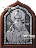 Серебряная икона Тихона Задонского со стразами артикул 11164