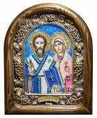 Киприан и Уистинья, икона из бисера в деревянном киоте