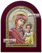 Казанская Божия Матерь икона в посеребренном окладе с эмалью на дереве