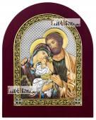 Святое Семейство икона в посеребренном окладе с эмалью на дереве