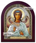 Ангел Хранитель икона в посеребренном окладе с эмалью на дереве