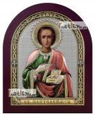 Пантелеймон Целитель икона в посеребренном окладе с эмалью на дереве