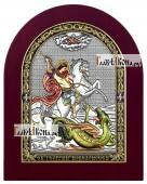 Георгий Победоносец икона в серебряном окладе с эмалью на дереве