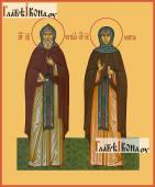 Преподобные Кирилл и Мария Радонежский печатаня на дереве икона