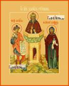 Три святых Даниила: Пророк Столпник князь Московский икона на дереве печатная