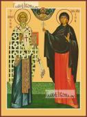 Киприан и Иустина, икона печатная, артикул 90349