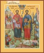 Косьма и Дамиан бессребреники печатная на дереве икона