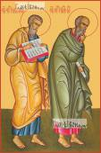 Матфей и Иоанн Богослов апостолы печатная на дереве икона