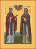 Петр и Феврония благоверные в схимах икона печатная артикул 90360