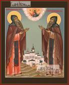 Ефросин и Серапион Псковские икона на дереве печатная