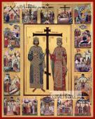 Константин и Елена с житием печатная на дереве икона