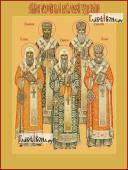 Святители Московские и Всея Руси, печатная на дереве икона