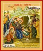 Рождество Христово, в палехском стиле, печатная икона