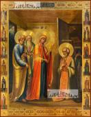 Явление Пресвятой Богородицы преподобному Сергию Радонежскому печатная икона
