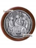 Троица икона из серебра круглая в рамке артикул 11142