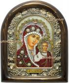 Икона Казанская украшенная жемчугом