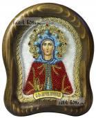 Святая Марина, икона бисером, размер иконы на фотографии - 14,5х17 см