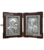 Складень с серебряными иконами: Спаситель и Казанская Божия Матерь