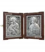 Складень с серебряными иконами: Спаситель и Владимирская Божия Матерь