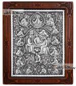 Серебряная икона Троицы Ветхозаветной с сюжетом с апостолами артикул 11209