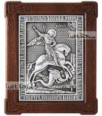 Серебряная икона великомученика Георгия Победоносца со стразами артикул 11210