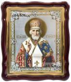 Николай Чудотворец аналойная икона в фигурной рамке