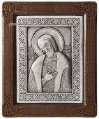 Александр Невский серебряная икона в деревянной рамке артикул 11115