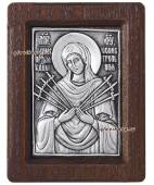 Образ Семистрельной Божией Матери, серебряная икона, артикул 11125