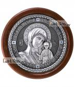 Казанская Богородица - круглая серебряная икона артикул 11197